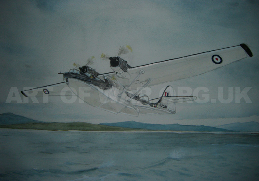 Catalina Flying Boat taking off from RAF Sullom Voe